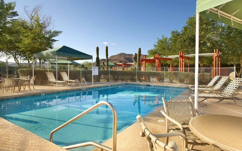 Sparking blue community pool