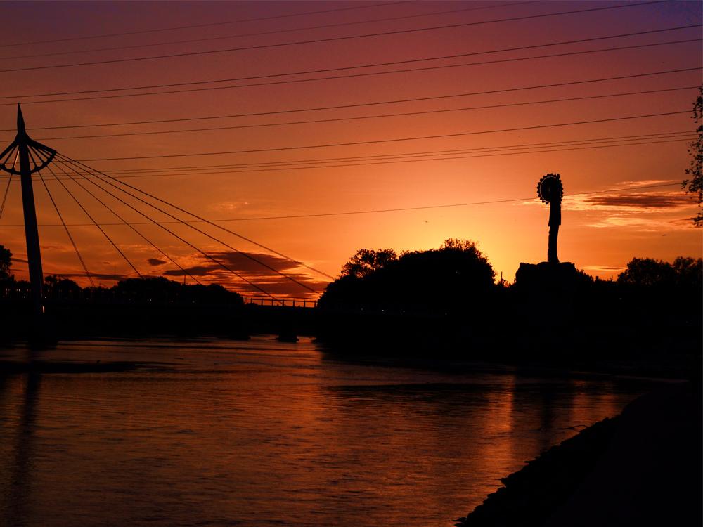 Orange glow as sun is setting