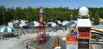 Brightly colored attractions at water park