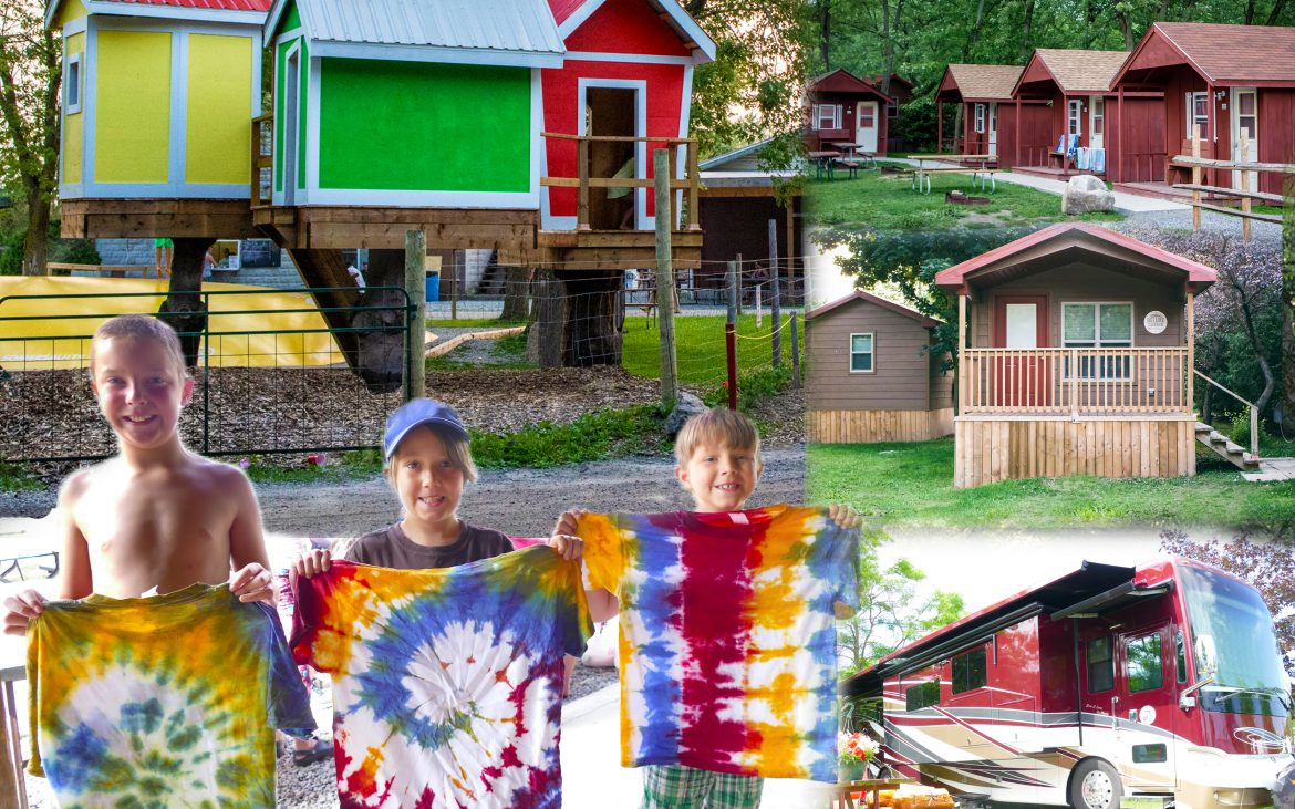 Multiple activities and children holding up tie-die shirts