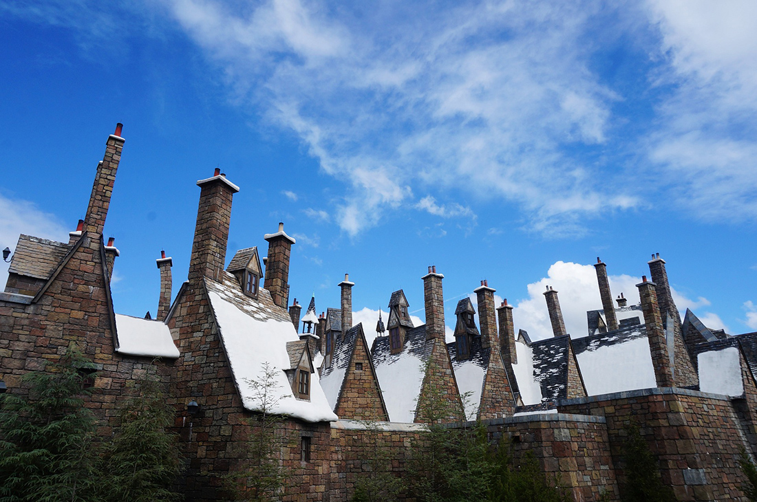 Snowy rooftops help create a magical mood in the Wizarding World of Harry Potter in Orlando. Photo: Carina Chen