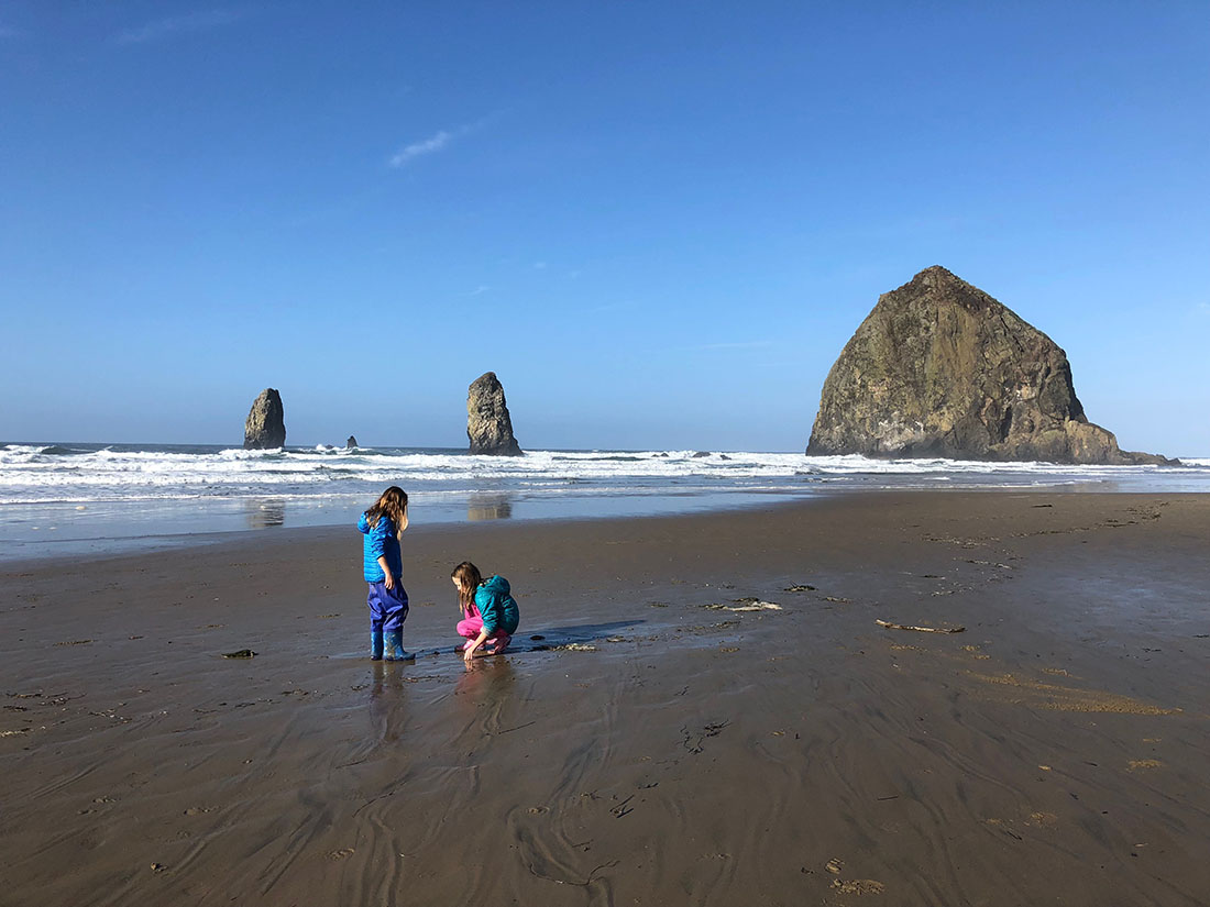 Haystacks in Oregon's Cannon Beach.