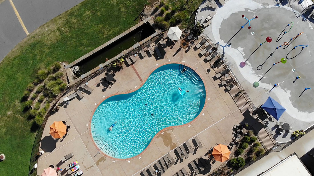 Catherine's Landing sits just outside Hot Springs National Park in Arkansas and features a resort-style pool and splash pad (to the right of the pool) for the younger campers.