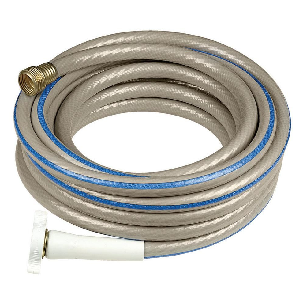 A water hose coiled and ready for use.
