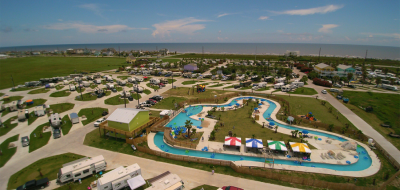 Aerial shot of lazy river in an RV resort.