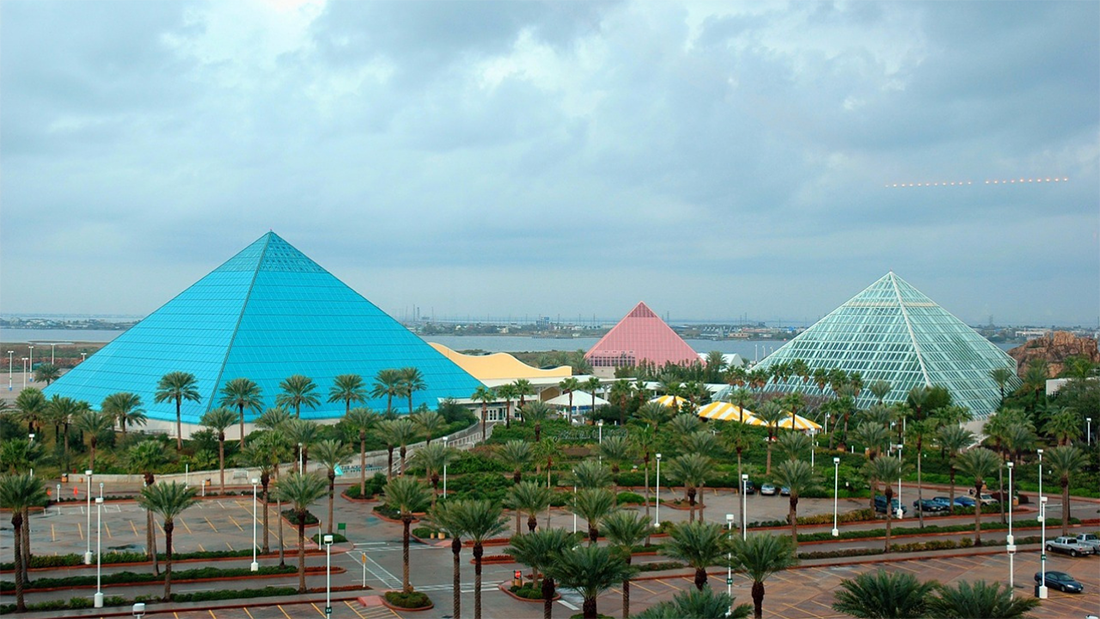 Colorful pyramids dominate the skyline in Galveston, Texas.