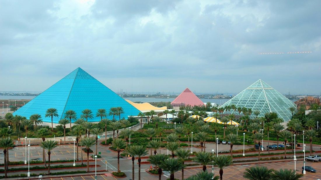 Colorful pyramids dominate the skyline in Galveston, Texas.
