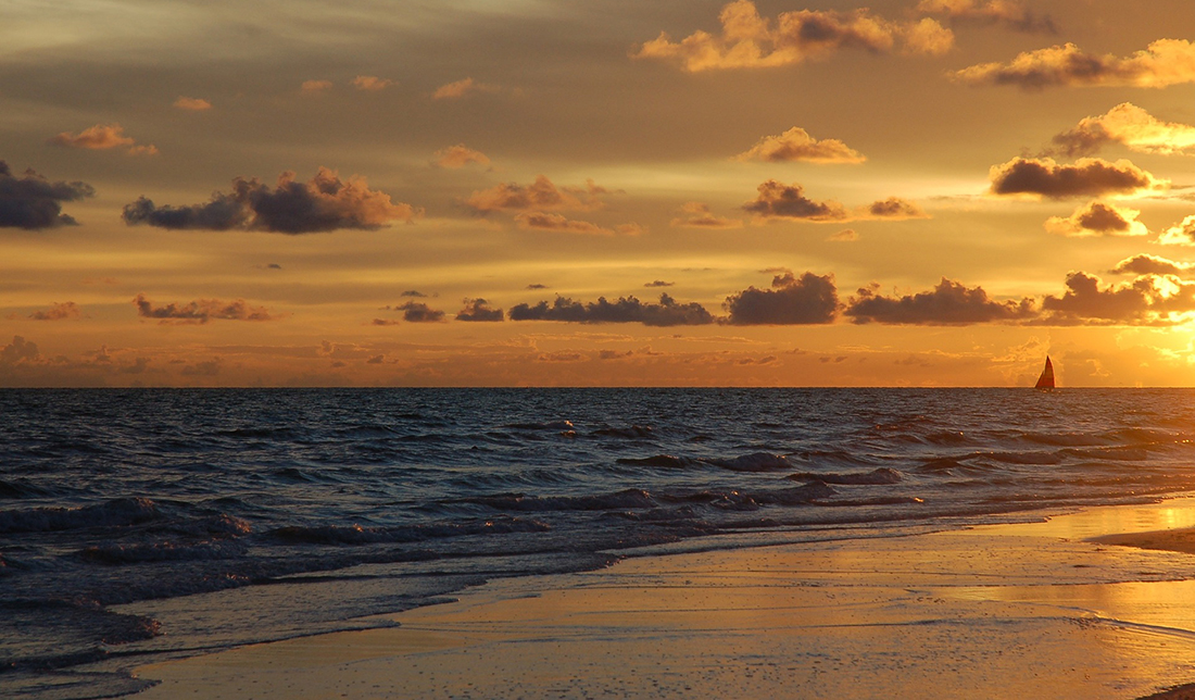 Golden sunsets are the norm on the Florida Keys.