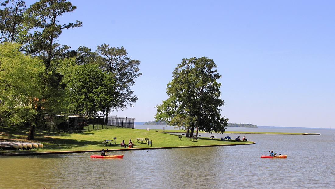 Kayaks launch from a grassy bank on Lake Livingston in Texas.