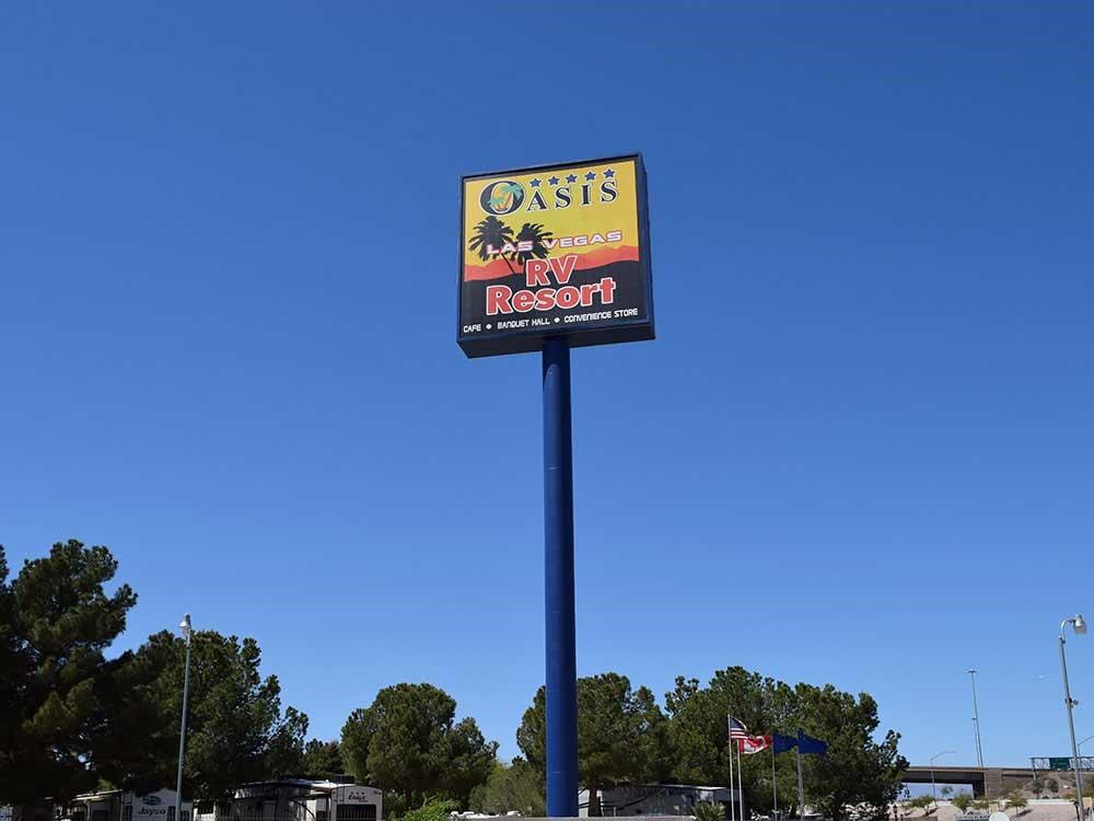 The towering Oasis Las Vegas sign