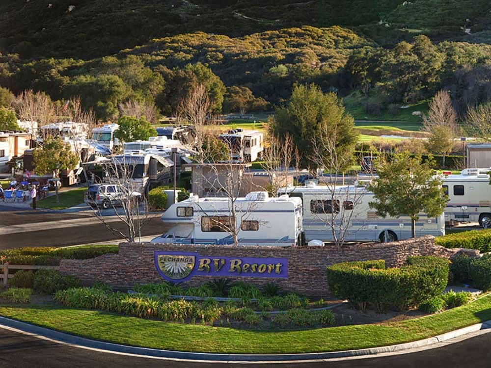 RV spaces set amid lush landscaping.