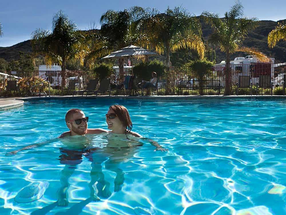 Enjoying the pool at the Pechanga RV Resort.