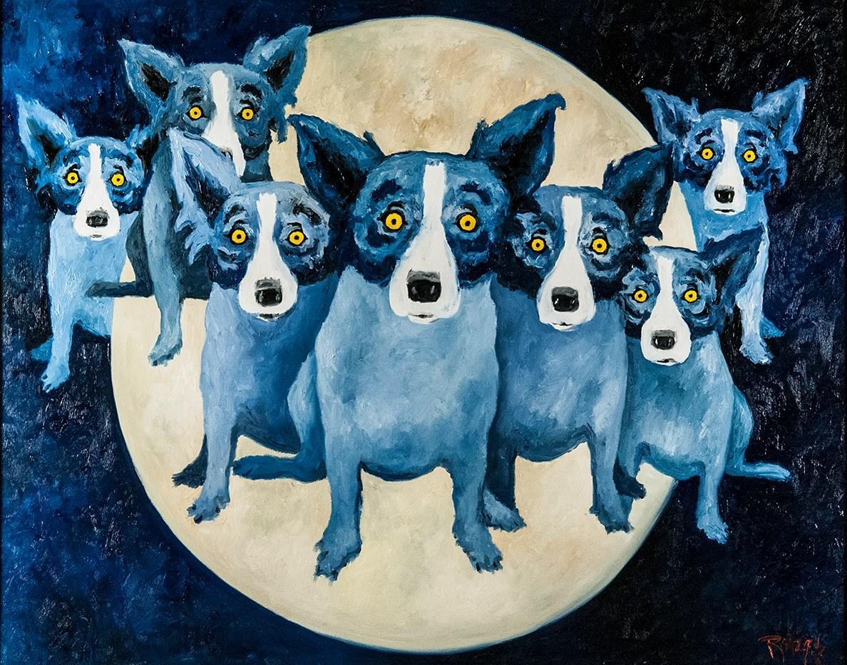 Painter George Rodrigue is renowned for his portraits of blue dogs.