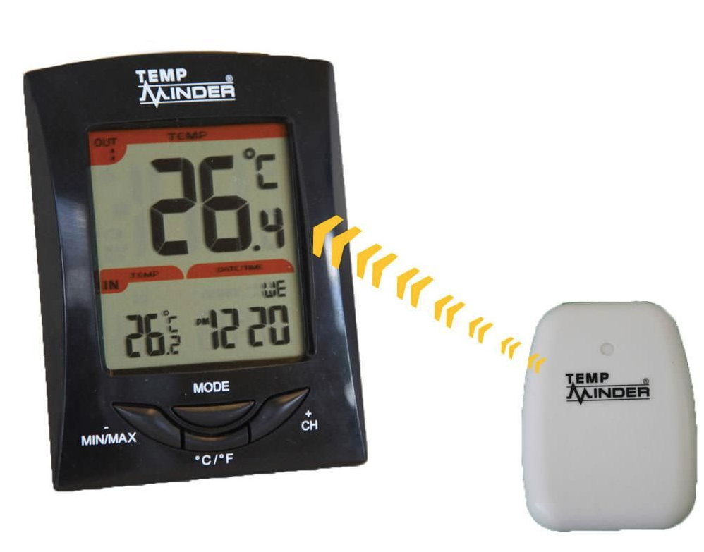A photo illustrations showing how the TempMinder Three-Station Wireless Thermometer and Clock connects wirelessly.