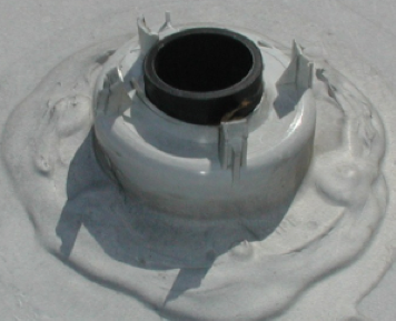 An RV roof vent with cap off.
