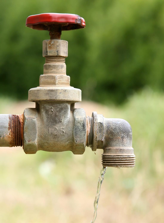 A spigot dispenses a stream of water.