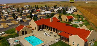 Aerial view of RV park and pool