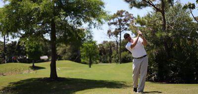 Man teeing off on golf greens