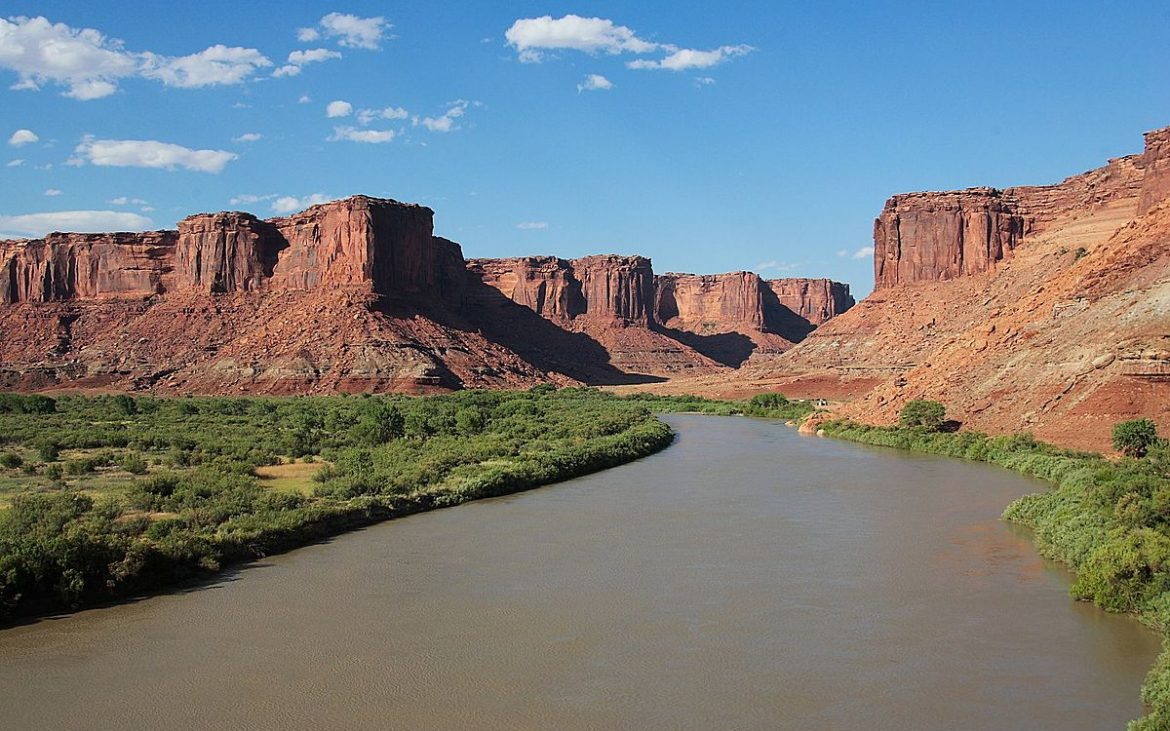 River flowing through red canyons