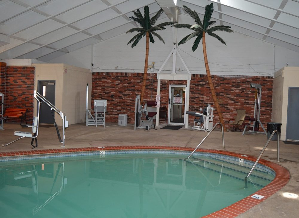 Brick lined indoor community pool