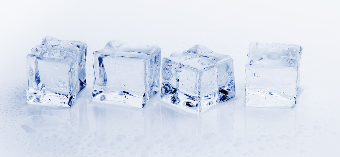 A row of four ice cubes.