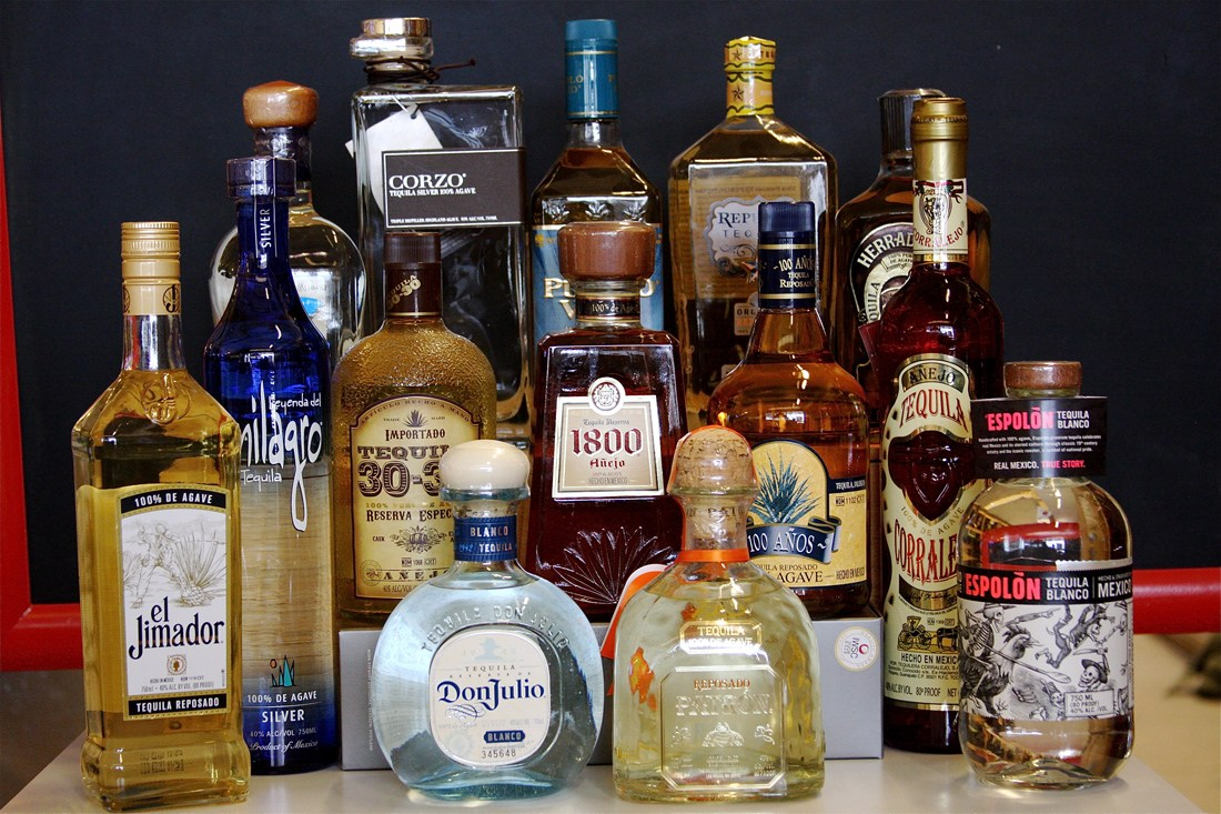 An array of tequila brands, each with its own distinctive flavor.
