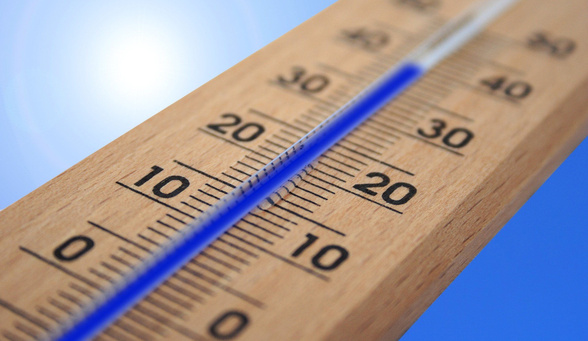 Mercury climbing in a thermometer.