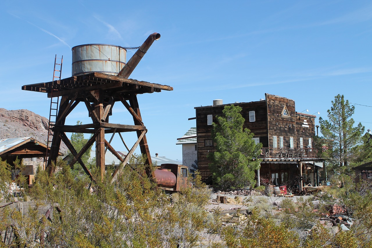 A Nevada ghost town with water tower.