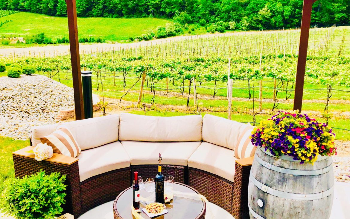 Outdoor patio with couch and table holding wine among vineyards