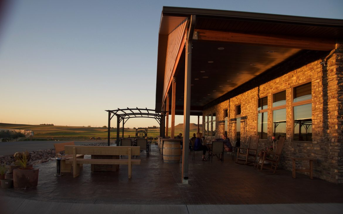 Wooden building and outdoor seating at vineyard
