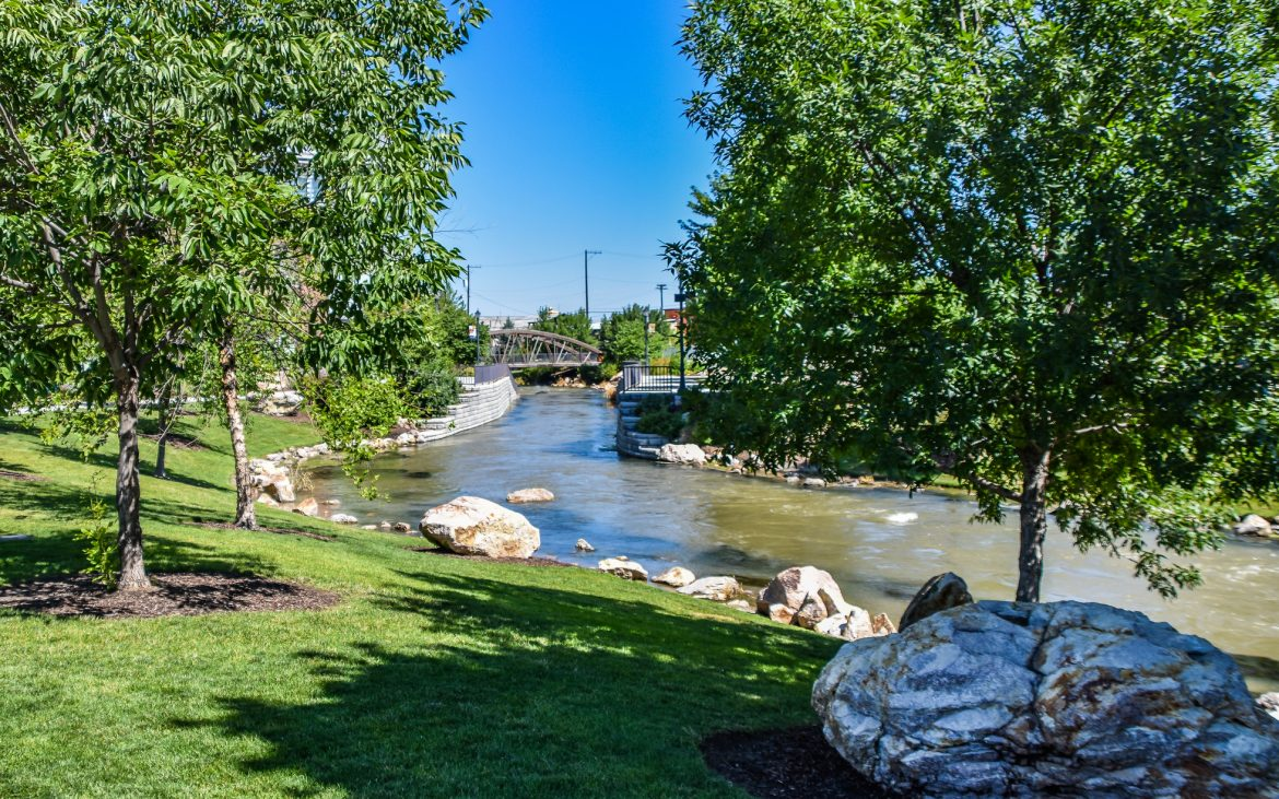 Scenic waterway in downtown Caldwell Idaho