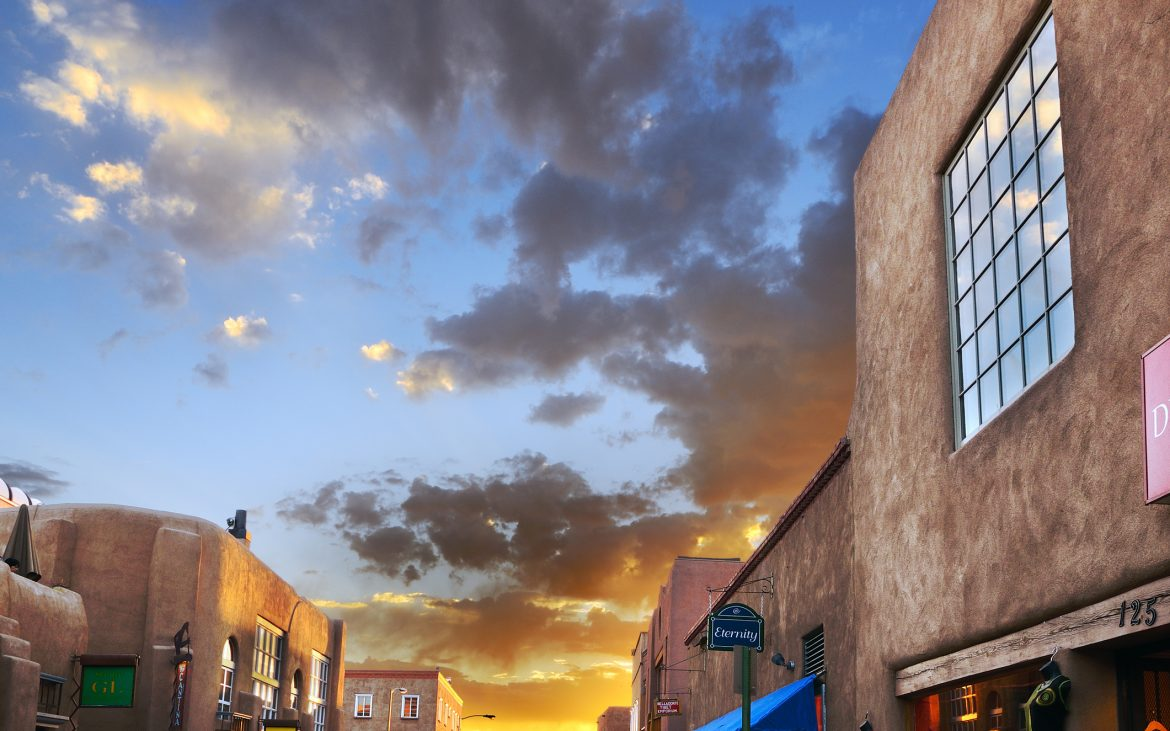 Sunset in downtown Santa Fe, New Mexico