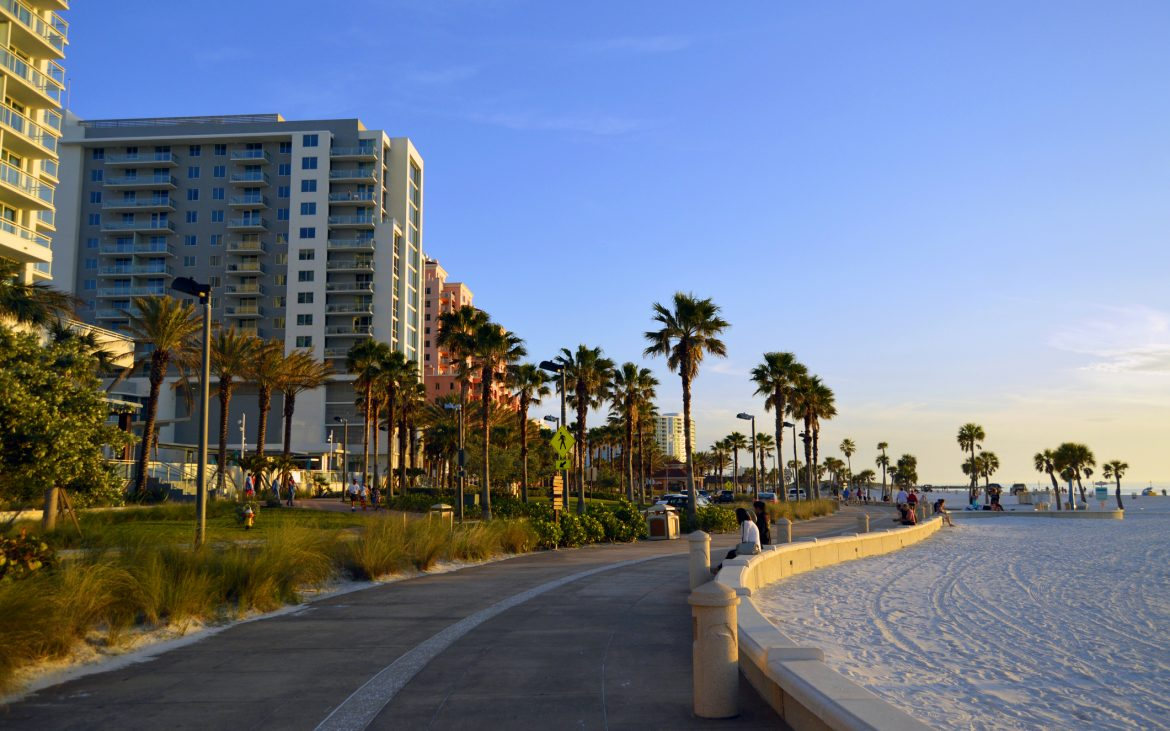 The beachwalk along Clearwater Beach around sunset