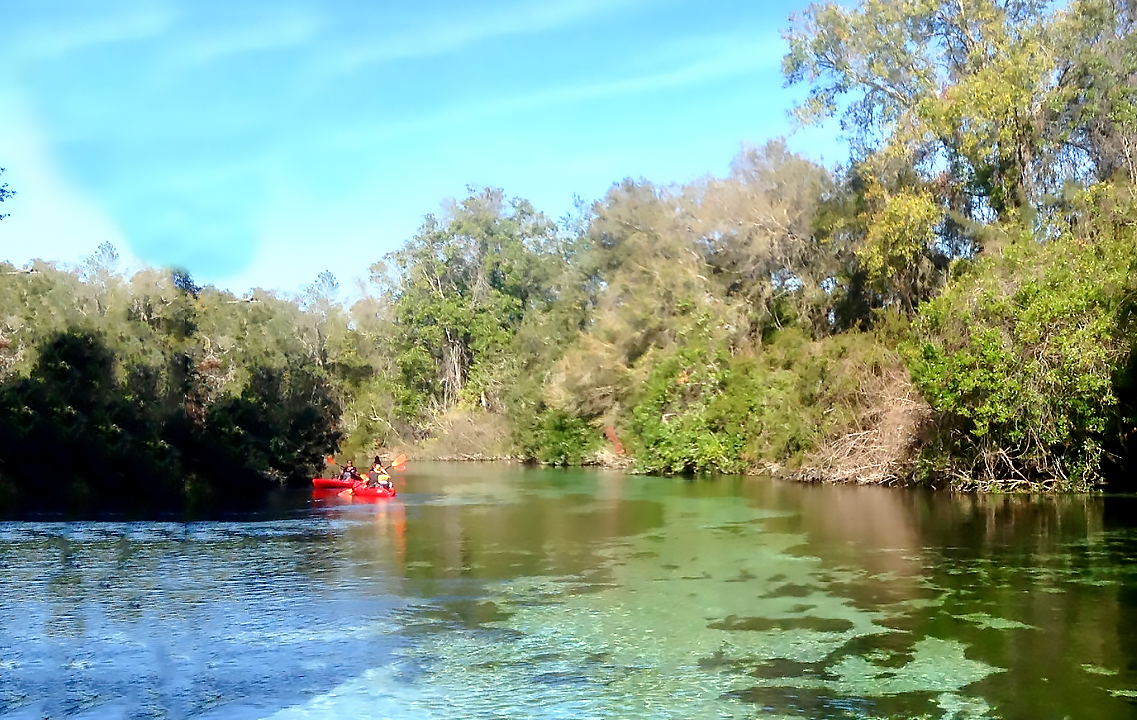 Two bright-red kayaks paddle down a clear river to the left of the frame.