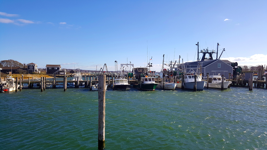 A line of commercial fishing boats moored on a dock overlooking dark green waters.