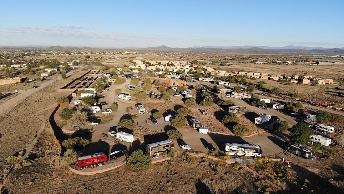 Aerial drone shot fo Santa Fe Skies RV Park.