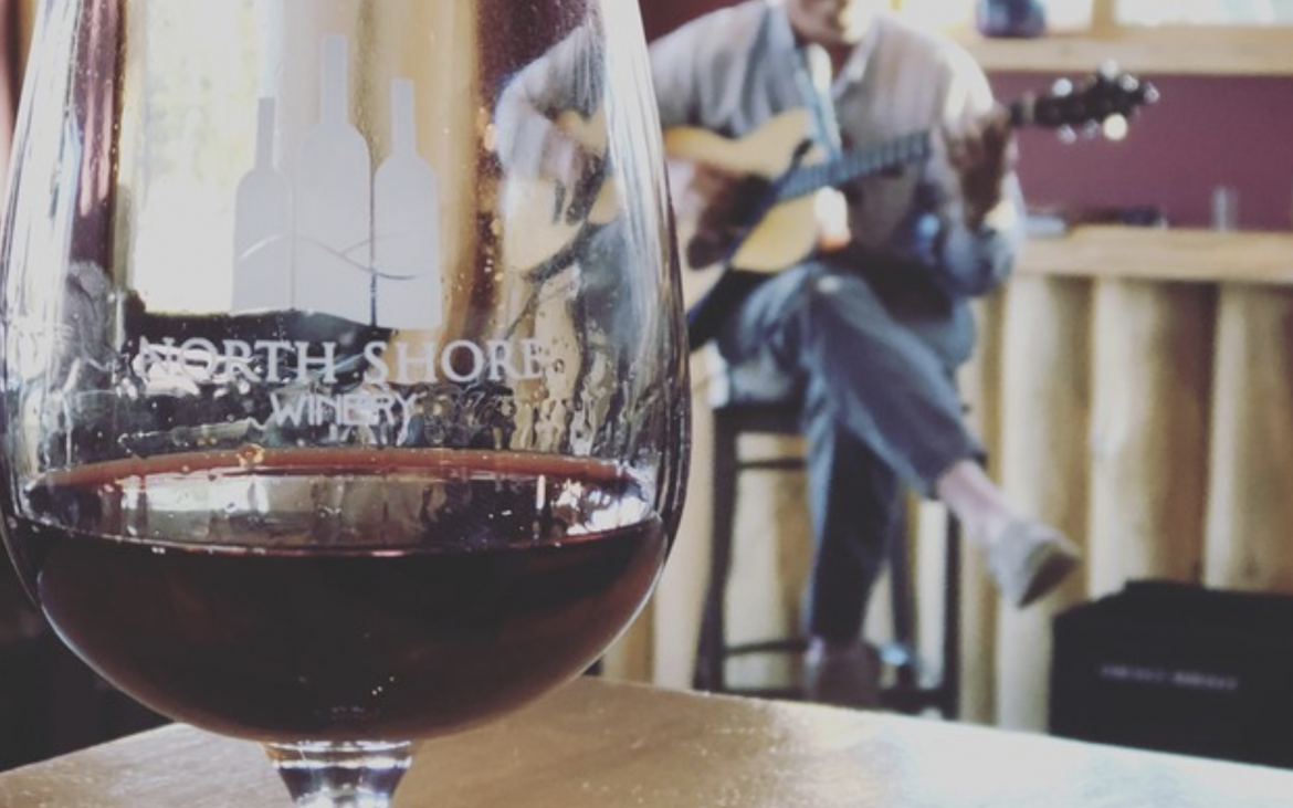 Close up of red wine in glass and man playing guitar in background