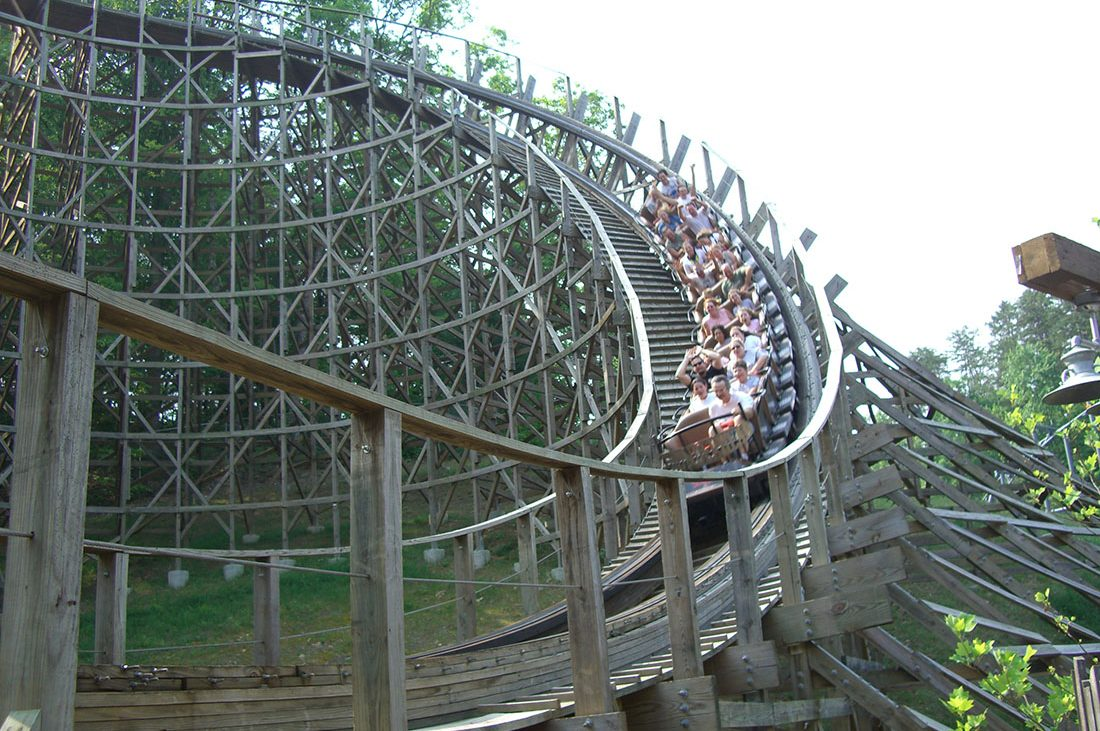 A rollercoaster takes a sharp turn in Dollywood.