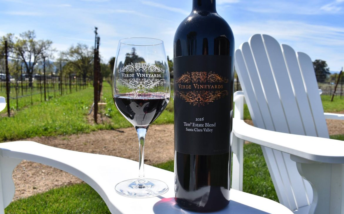 Glass of red wine with bottle on arm of chair outside at vineyard