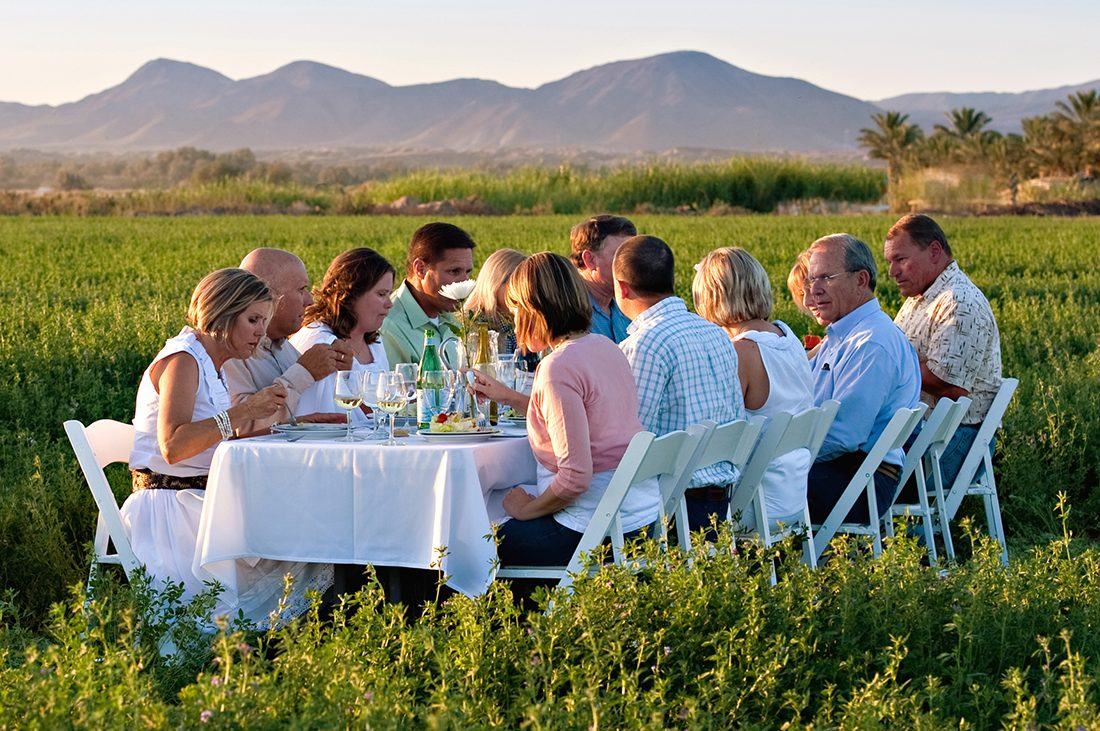 A group sits at a table in the middle of a field growing crops.