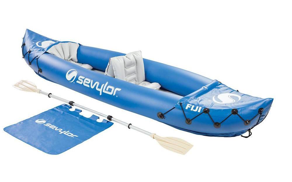 Blue Fiji Kayak in a white background.