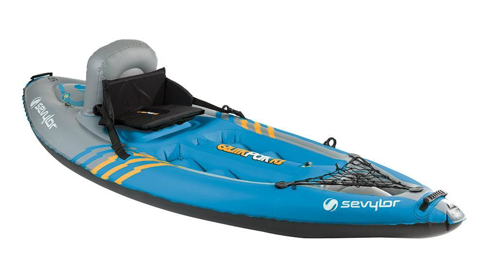 All-blue 1 person kayak in white background.