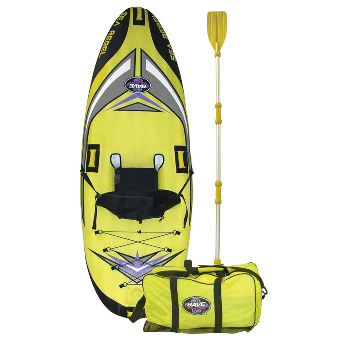 A yellow-and-black kayak standing upright with paddle and bag.