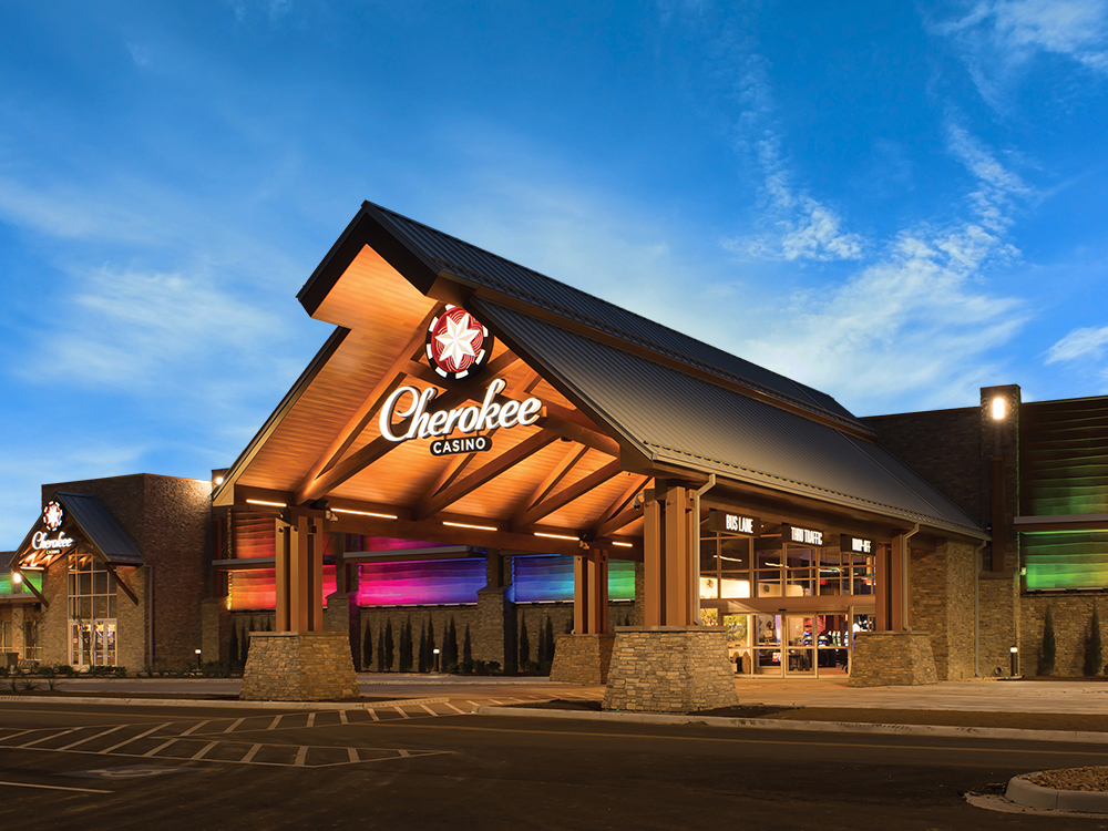 The a-frame entrance of Cherokee Casino Grove on Grand Lake.