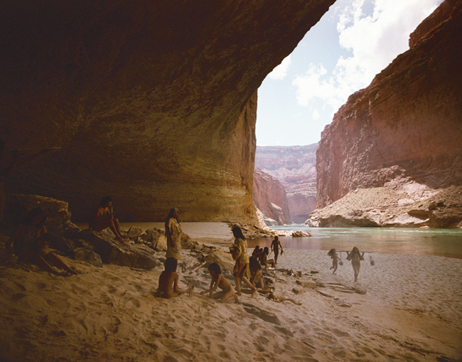 Indigenous people on the banks of the Colorado River on in the Grand Canyon.