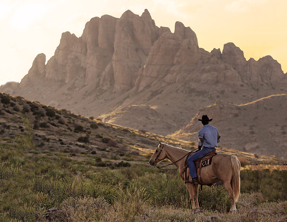 A lone horseback rider in cowboy hat looks out at a craggy rock formation on the horizon.