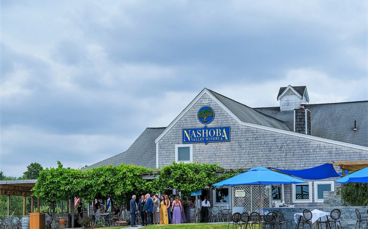 Winery outdoor patio on cloudy day