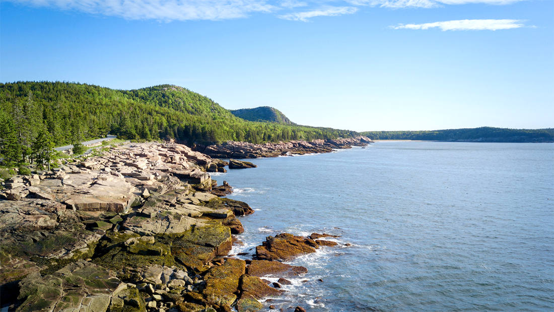 Water laps on an ocean shore with forested hills rising in the background.