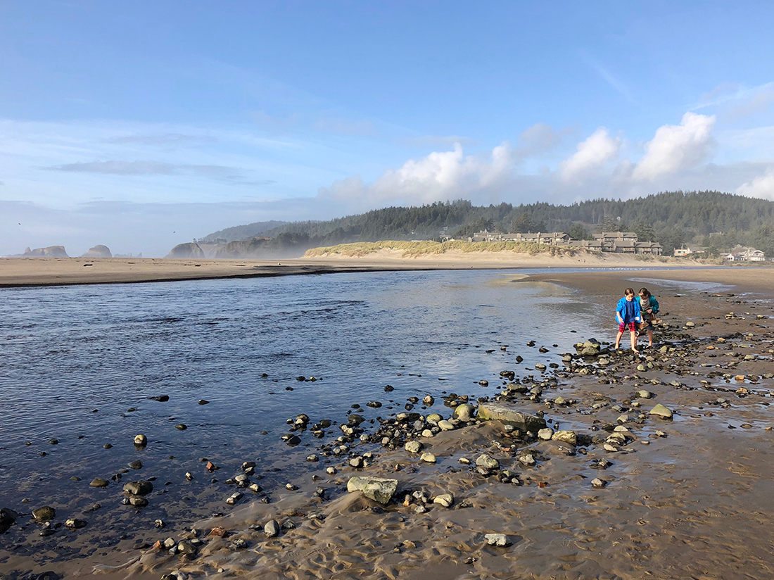 Two kids playing on a rocky beach under blue skies.