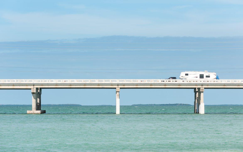 RV traveling on Seven Mile bridge of Overseas Highway between Florida Keys, USA